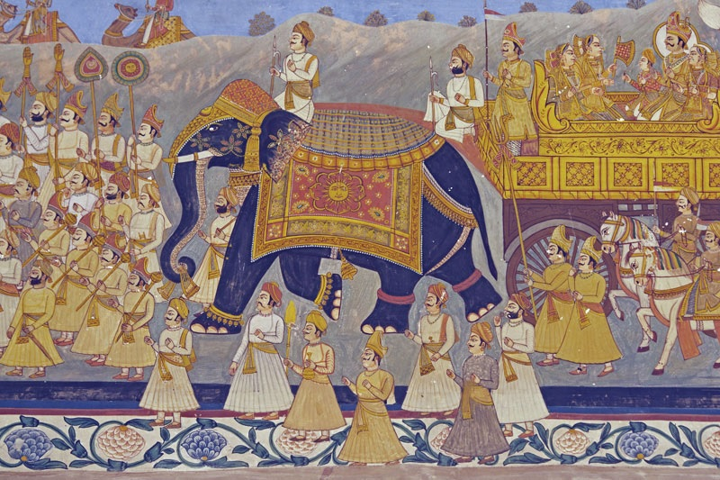 Royal Rajput procession, mural at the Mehrangarh Fort in Jodhpur